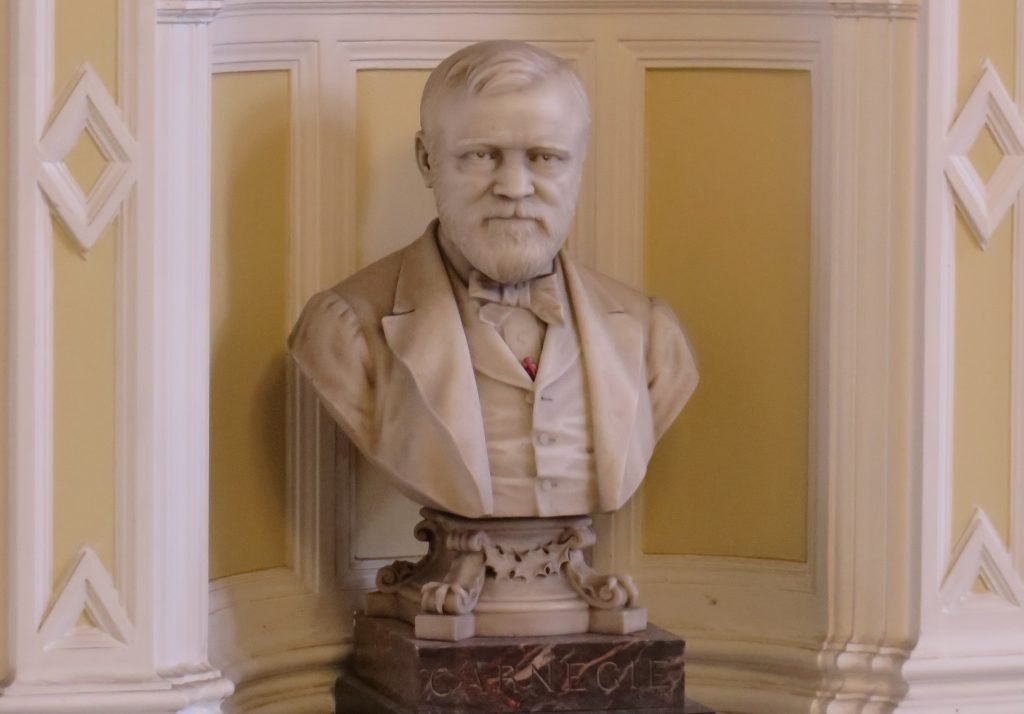 A marble bust of Andrew Carnegie