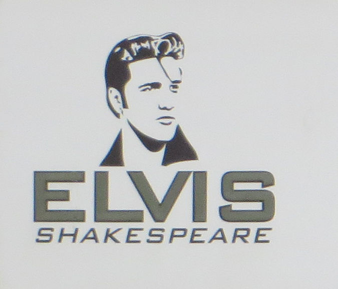 A black and white illustration of Elvis Presley. Below it says Elvis Shakespeare