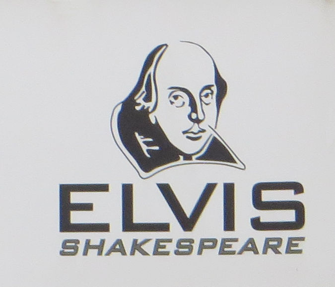 A black and white picture of William Shakespeare, underneath it says, Elvis Shakepeare.