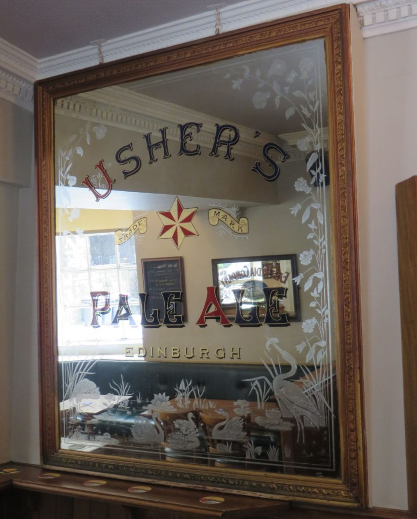 Large old brewery mirror with text saying Ushers Pale Ale Edinburgh