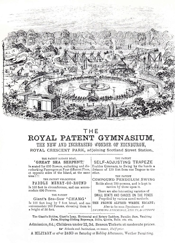 An advert with an engraving of the gymnasium and descriptions of the various apparatus on offer.