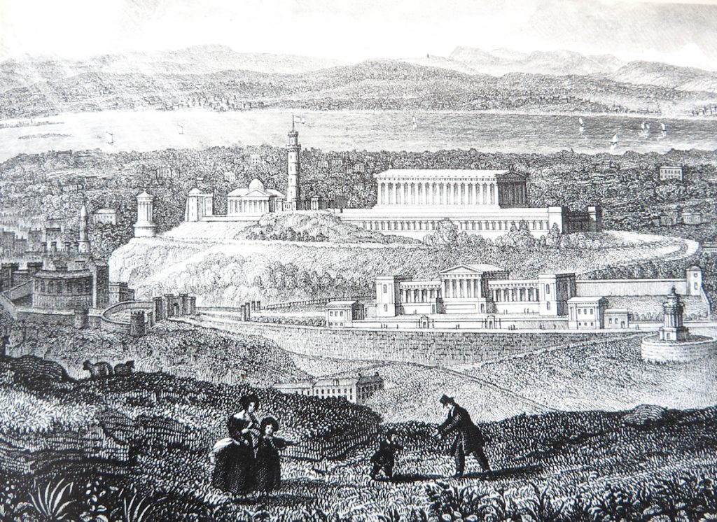 An engraving of Calton Hill with the Completed Parthenon among other buildings