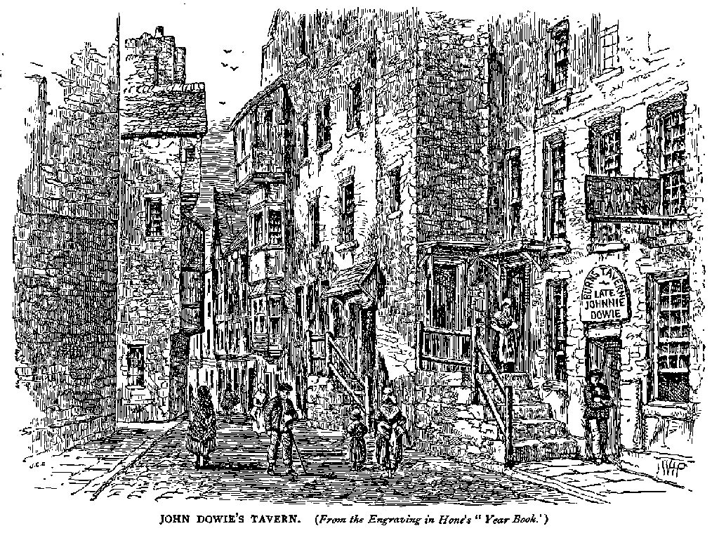 A nineteenth century engraving of a narrow street. On one side there is the entrance to Dowie's Tavern