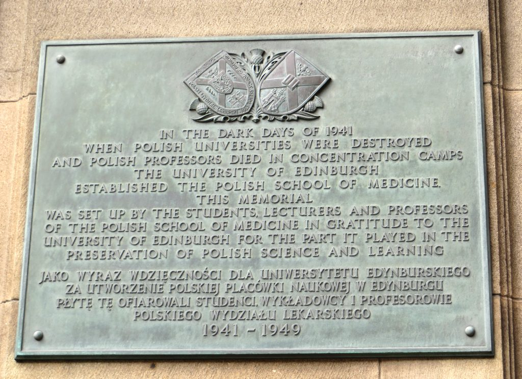 Bronze plaque commemorating the Polish Medical School