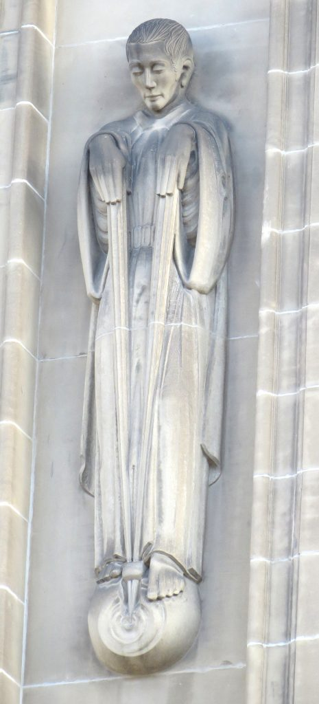 A stylised statue of a man. Lighting bolts descend from his hands and meet in a ball at his feet.