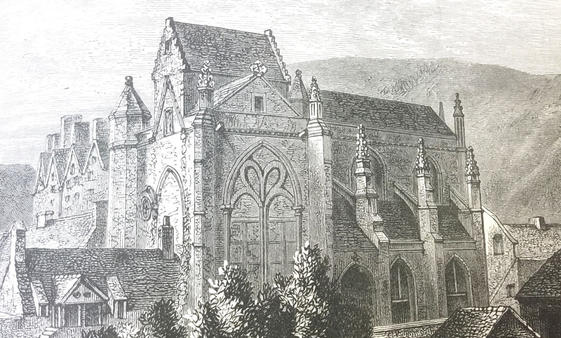 An engraving of a medieval church with pointed windows, high walls, flying buttresses and many gables.