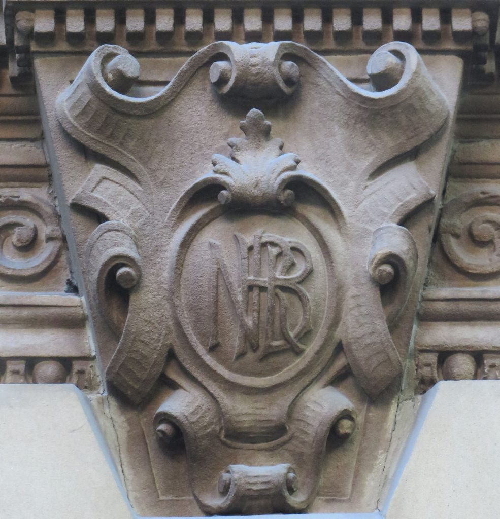 Carved sandstone showing three entwined letters, N, B, R, the logo of the North British Railway Company